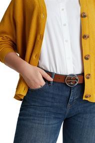 Aus Leder: Gürtel mit Logo-Schließe
