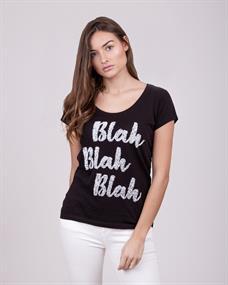 BLAH - Statement T-Shirt mit Pailletten-Druck