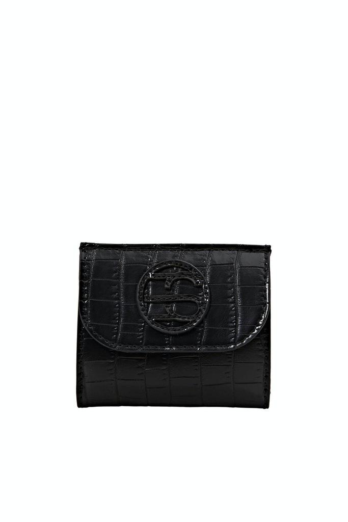 Kleine Monogramm-Geldbörse in Leder-Optik