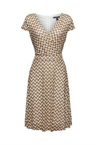 Mesh-Kleid in Wickeloptik mit Print