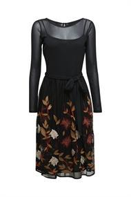 Mesh-Kleid mit Blüten-Stickerei