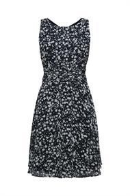 Recycelt: Chiffon-Kleid mit geraffter Taille