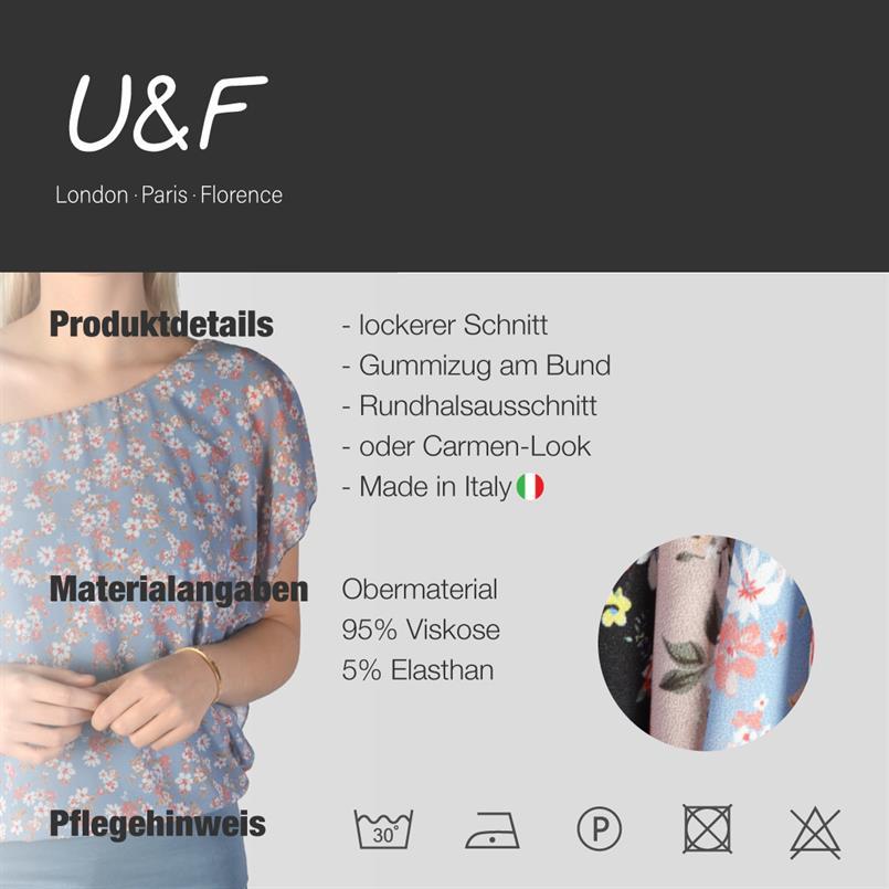 U&F Bluse mit Raffung & Volants Ärmel