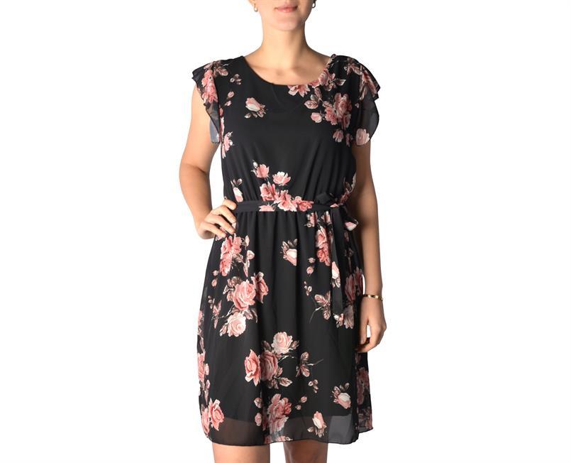 U&F Damen-Kleid im schicken Blumen-Muster mit Schleife