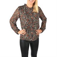 U&F Gemusterte Bluse mit Volant-Kragen